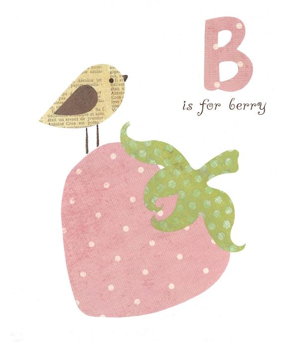 Bird Alphabet Nursery Kids Wall Art, Pink Strawberry Children's Room Decor, Easter Decorations, Kids 8x10 print