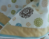 Custom Baby Bedding Crib  Bumper Pads and Skirt - Teal Brown Block Print - Infant Toddler Blanket