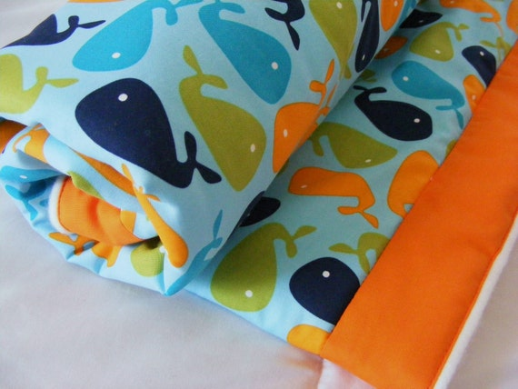 Organic Fleece and Cotton Baby Boys Bedding -Blanket- Quilt -Helicopters whales Airplanes - ORANGE BLUE