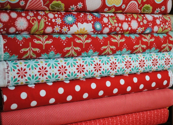The Quilted Fish for Riley Blake, Apple of My Eye, Fat Quarter Bundle, 7 Prints, Red