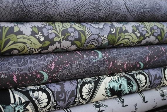 Tula Pink for Free Spirit, Nightshade, Fat Quarter Bundle, 5 Prints, Evening Shade
