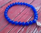 Tibet silver yoga charm with blue sapphire gemstone beaded stretch bracelet (free shipping usa)