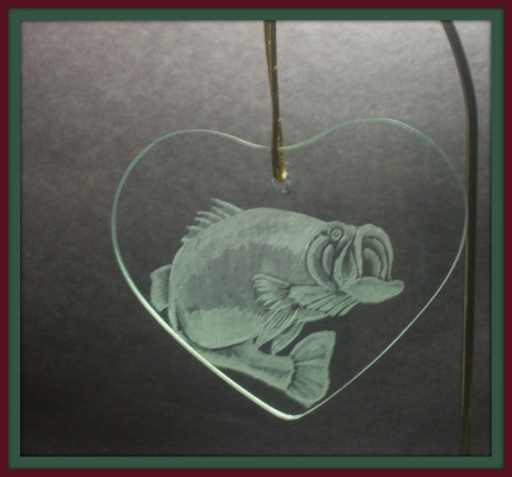 Ornament or suncatcher  Large Mouth Bass perfect for any fisherman  Hand Engraved glass  International shipping available