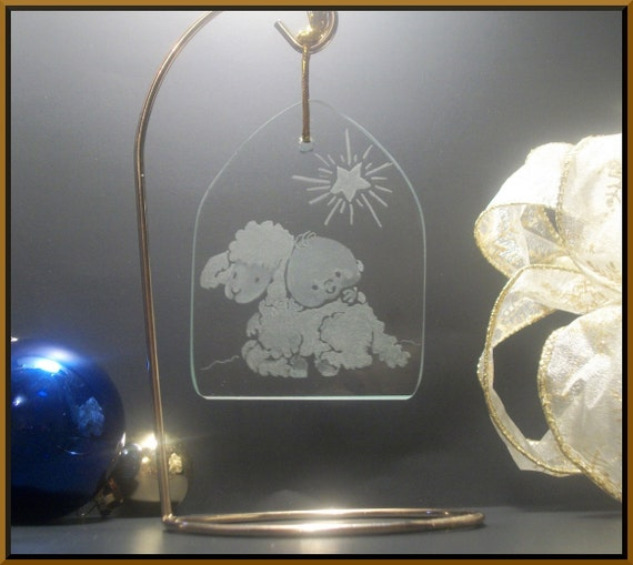 Christmas Ornament Little lamb of god. Hand engraved glass holiday decoration baby Jesus and lamb