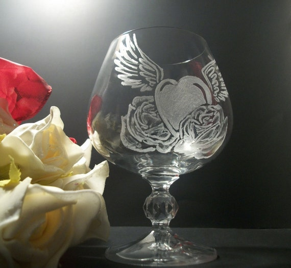 brandy glass , heart with wings and roses tattoo style