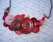HEART SONG - Button Necklace -  VINTAGE button Jewelry -  Red- Pink - Button Jewelry