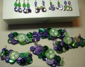 Button Necklace SETS - CUSTOM Wedding sets - Gift sets - Vintage button Jewelry - Your Colors - 25.00 and up