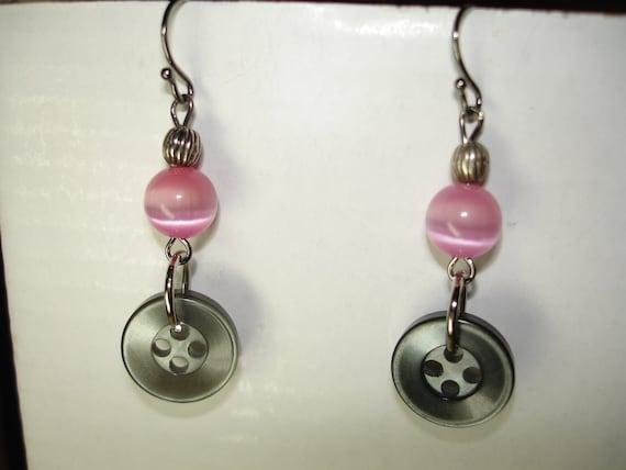 Button Earrings - Dangle Earrings - PINK - Gray - Silver - Gunmetal findings