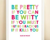 "Pink, Green & Blue ""Be Gracious"" print poster"