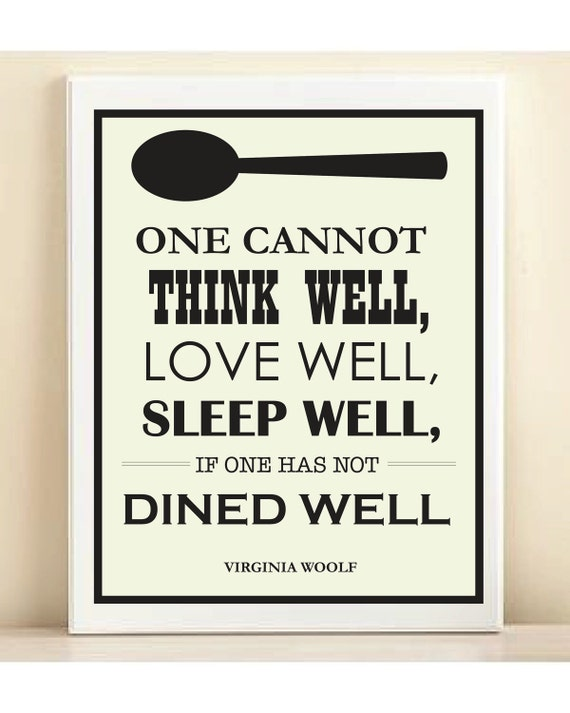 "Virginia Woolf ""Dined Well"" print poster"