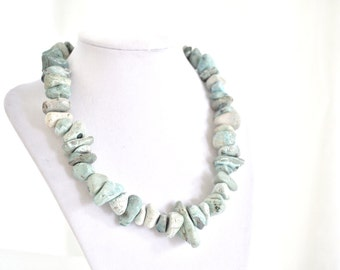 Blue Stone Necklace Chunky Nugget Stone Necklace OOAK