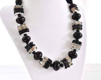 Lampwork Beaded Necklace Black Mother of the Bride Wedding Gift Winter Wedding Black White Khaki