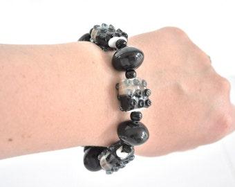SALE Lampwork Beaded Bracelet Black