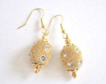 Gold Rhinestone Earrings Dangle Silver and Gold OOAK