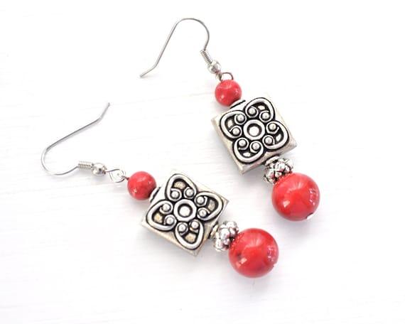 SALE! Red & Silver Drop Dangle Earrings