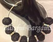 3 in Black Mesh & AB Rhinestone Hoop Earrings