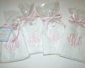 Monogrammed Bib, Burp Cloth, Onesie & Gown Set
