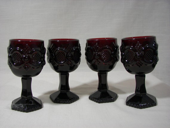 Avon Cape Cod Ruby Red Wine Glass