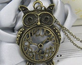 Lovely brass owl clock necklace (Long chain)