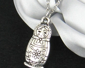 Antique silver Matryoshka doll necklace