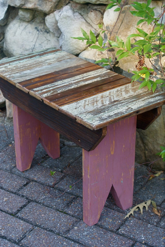Reclaimed Bead Board Small Wooden Bench Outdoor Furniture Home
