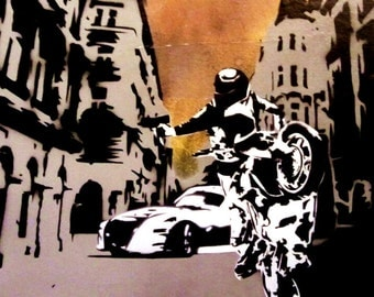 Intense Street Chase Scene - Stencil Art Painting on Canvas, 16x20