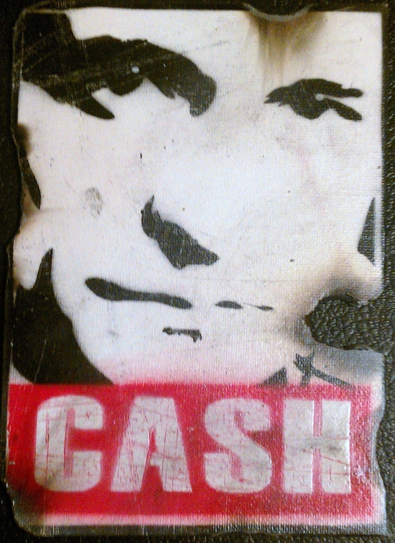 Johnny Cash - Man In Black - Grungy Stencil Art on Canvas - Style of OBEY