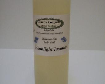 Moonlight Jasmine Natural Body Wash - Goats Milk, Shea Butter & Silk Fiber - bath soap, shower soap, liquid soap - 4 oz bottle