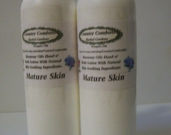 Mature Skin Hand & Body Lotion - Dry skin lotion, chapped skin, soothing lotion, Mature Skin Lotion - 8 oz bottle