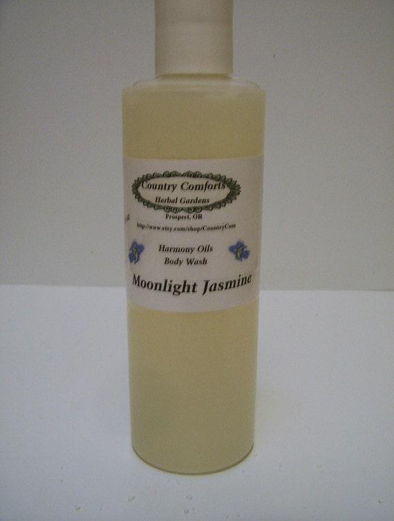 Natural Body Wash - Moonlight Jasmine - Thick, Rich Formula, Now contains Goatsmilk, Shea Butter & Silk Fiber - 8 oz bottle (Soooo Sexy)