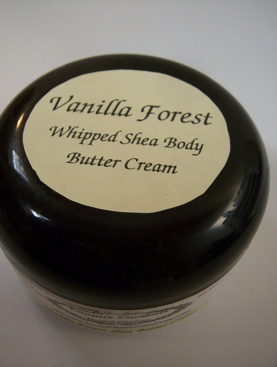 Whipped Shea Body Butter Cream - Vanilla Forest - Vanilla fragrance with a woodsy undertone - 2 ounce jar