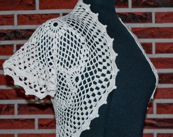 White and natural crochet bolero shrug