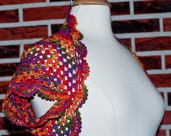 Red variegated crochet bolero shrug