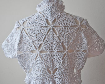 White crochet bolero shrug