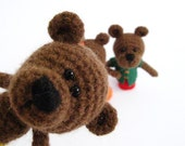 Crochet bear - Crochet Teddy - Crochet finger puppets- Set of 3 finger puppets - Bears' Family - Amigurumi