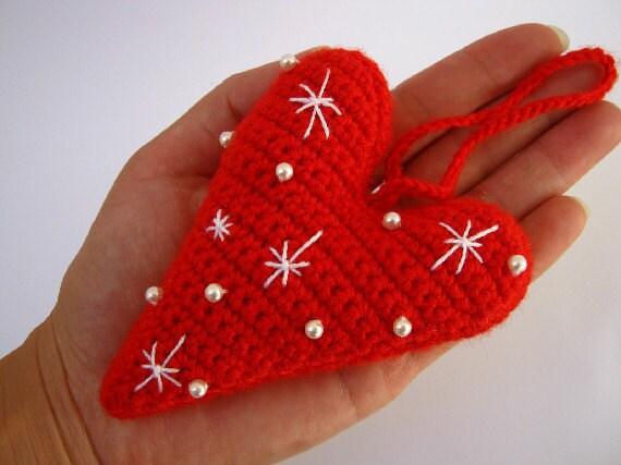 Crochet Heart - Christmas Ornament - Amigurumi