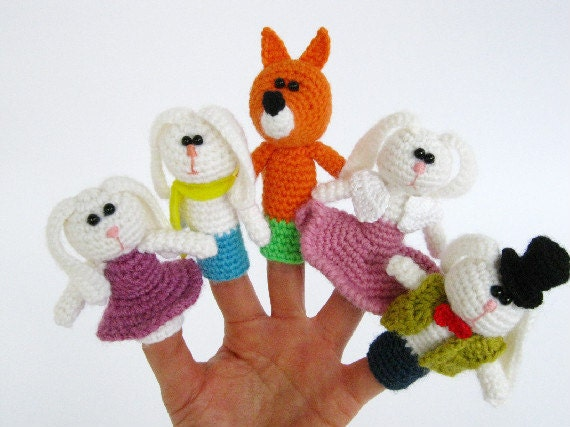 Finger puppets - Crochet finger puppets - Crochet Fairy Tale -Set of 5 finger puppets - Amigurumi - Puppet - Easter bunny - Red fox