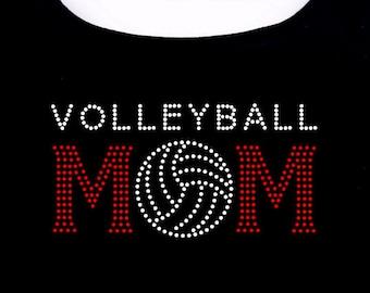 Volleyball Mom RHINESTONE t-shirt tank top sweatshirt S M L XL 2XL - Volley Ball Sports Mama Madre Mother bling