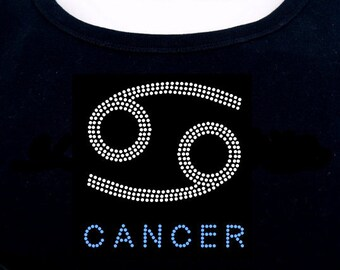 Cancer RHINESTONE t-shirt tank top sweatshirt S M L XL 2XL - Zodiac Horoscope Astrology
