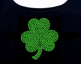 Shamrock RHINESTONE t-shirt tank top sweatshirt Bling S M L XL 2XL - St. Patrick's Day Irish Luck Lucky