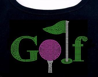 Golf RHINESTONE t-shirt tank top sweatshirt S M L XL 2XL - Golfing Tee Flag Ball Green Pink