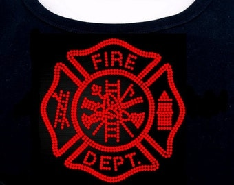 Fire Department RHINESTONE t-shirt tank top sweatshirt  S M L XL 2XL - Fire Fighter Logo Seal Woman Bling