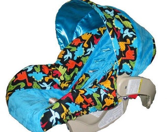 dinosaurs infant car seat cover with blue and straps ships today. Black Bedroom Furniture Sets. Home Design Ideas