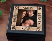 "Wood Box for Jewelry or Keepsakes : ""Many Hearts, One Family"""