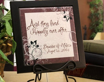Personalized Framed Plaque for Wedding Couple - Happily Ever After ...