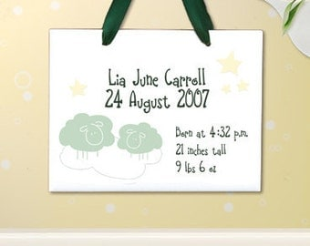 "Personalized Baby Stats Hanging Wall Tile ""Sheep and Stars"" : Add Baby's Name and Birth Info"