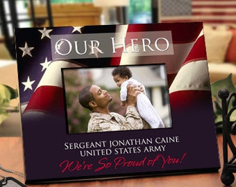 Patriotic Picture Frame with Military Theme : Personalize for Your Family's Hero