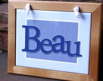 Blue and White Wall Hanging with Name : Framed Tile Decoration for Your Baby's Nursery or Child's Room