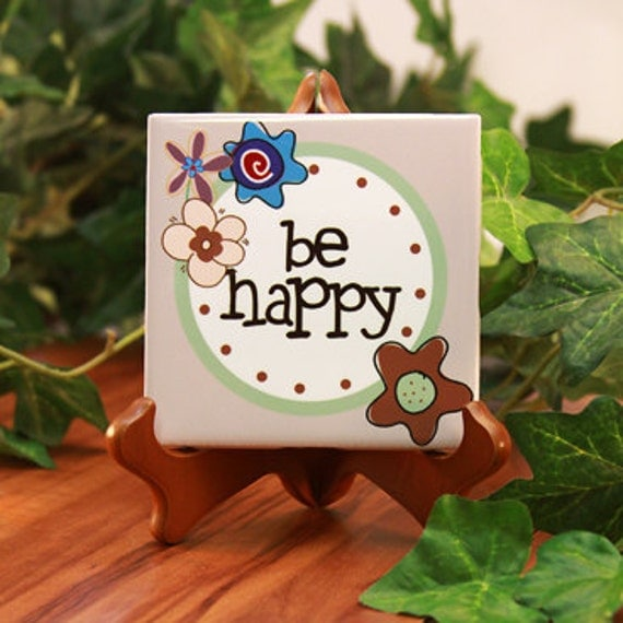"""Ceramic Desk Plaque """"Be Happy"""" : For Office Gifts, Birthdays, Students, or Kid's Room Decor"""
