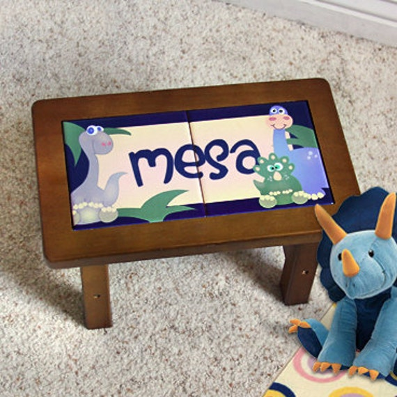 Personalized Child s Step Stool Dinosaur Design for
